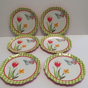 "Butterfly Floral Melamine Plates 9"" Set of 6"